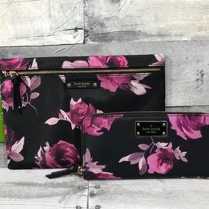 Kate Spade Rose Set Wallet Makeup Pouch
